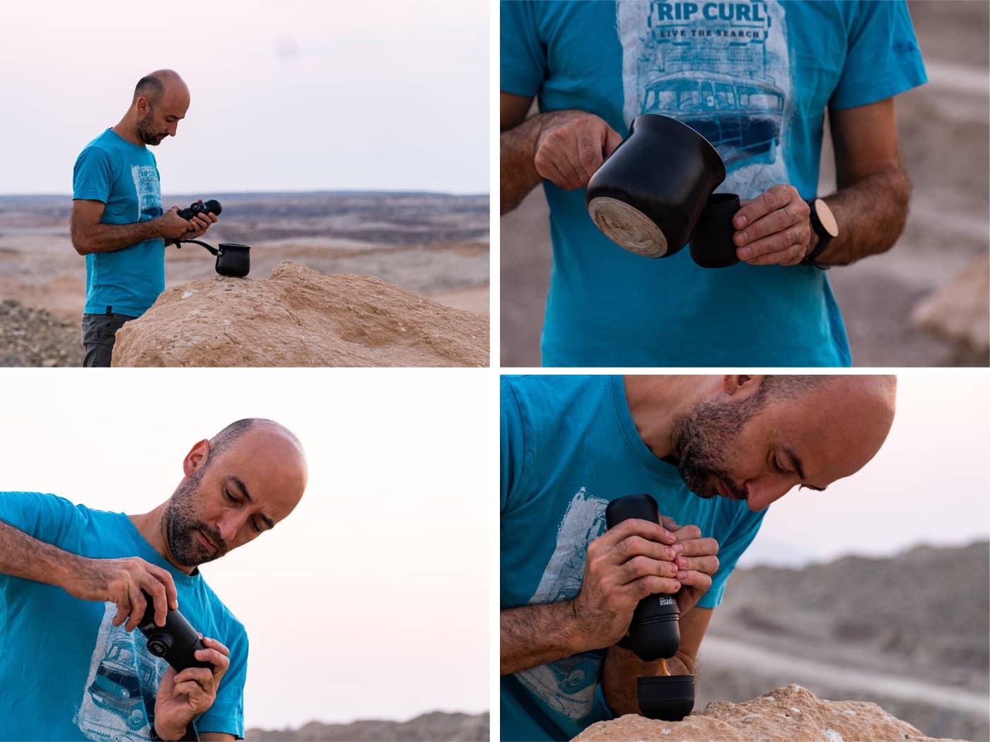 קפה במדבר מכונת אספרסו ניידת
